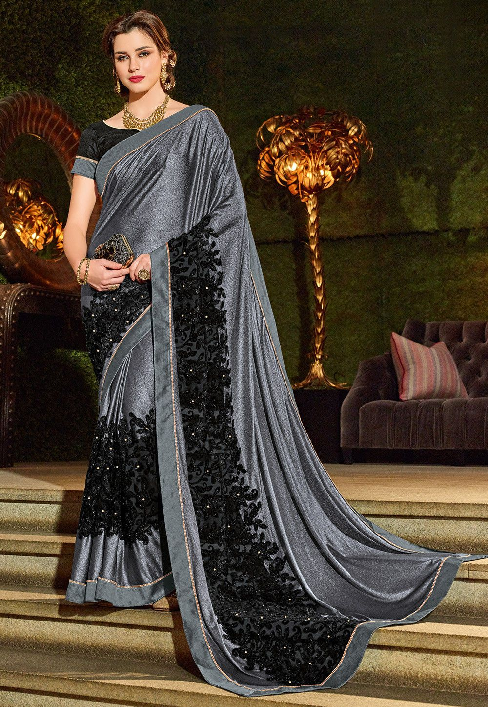 be772441667b5 Embroidered Border Shimmer Lycra Saree in Grey and Black   SGPN482 ...