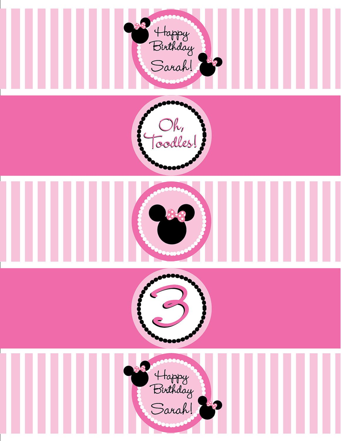 graphic regarding Free Printable Minnie Mouse Water Bottle Labels named Do it yourself, Minnie Mouse Drinking water Bottle Labels. Events within just 2019