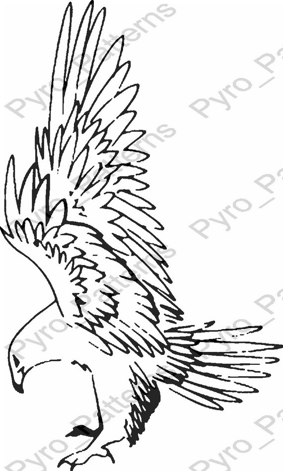 Pyrography Wood Burning Eagle Bird Pattern Printable Stencil Instant