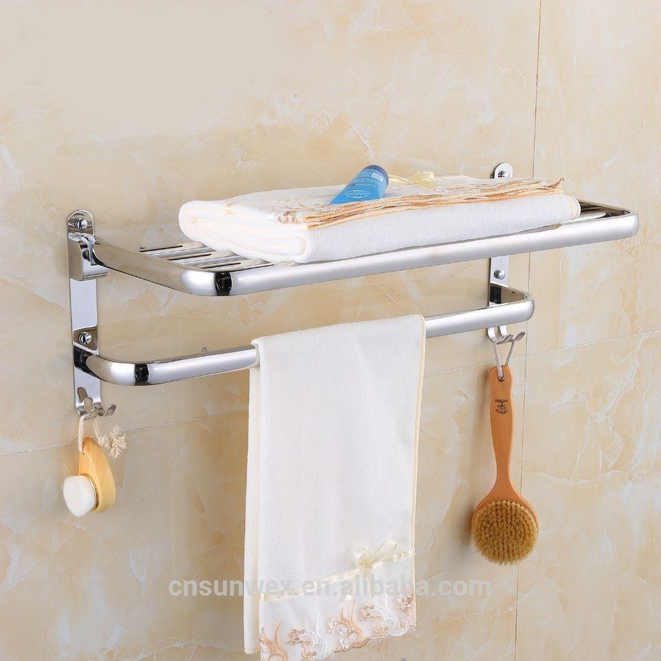Foldable Stainless Steel Towel Rack Bathroom Towel Shelf Hotel