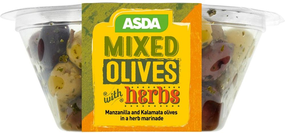 Compare And Buy Online Tesco Asda Herby Black Green Olives 160g