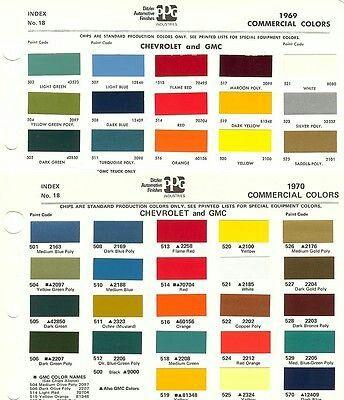 1970 Paint Chips Car Colors Classic Chevy Trucks Truck Paint