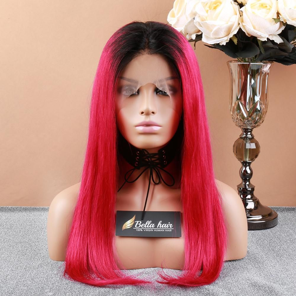 150 Density Full Lace Wig 1B / Red Color Straight Lace