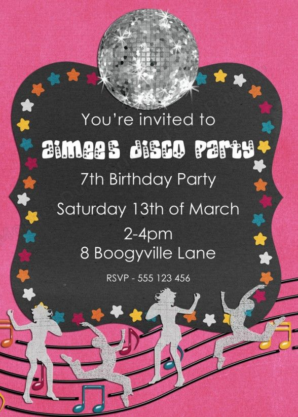 party invitations mesmerizing disco party invitation