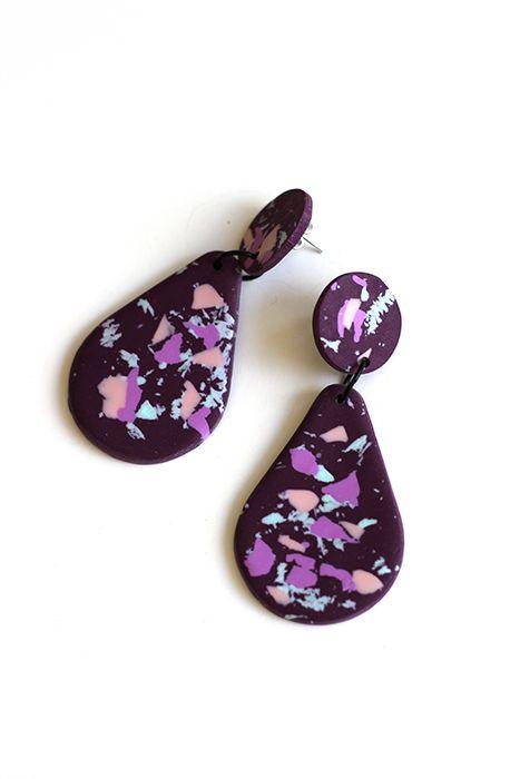 Terrazzo drop earrings purple Earrings, Clay earrings