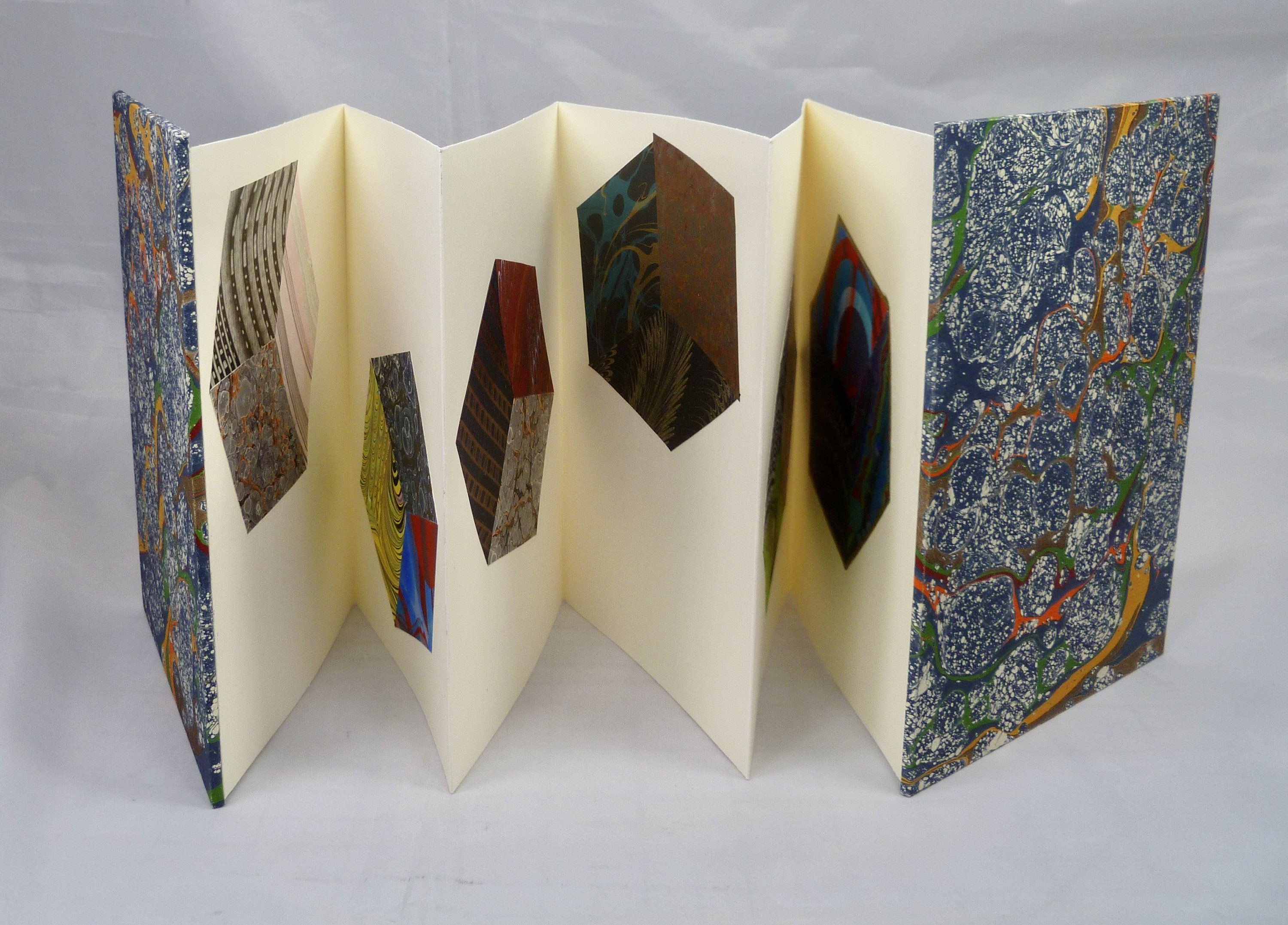 Accordion Book With Tumbling Cubes Of Marbled Papers Etsy In 2020 Accordion Book Book Art Book Making