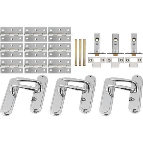 c5b6a83ef887 Kingston Latch Handle Chrome PK3 - Premium Door Handles & Knobs - Door  Furniture & Accessories