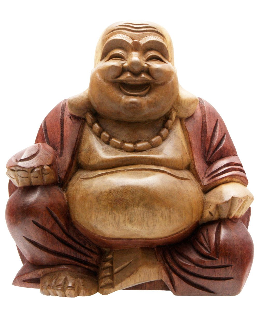 Hand Carved Two-Toned Happy Buddha Statue - Ethnic Spiritual Buddha Decor - HipBazaar.com #buddhadecor