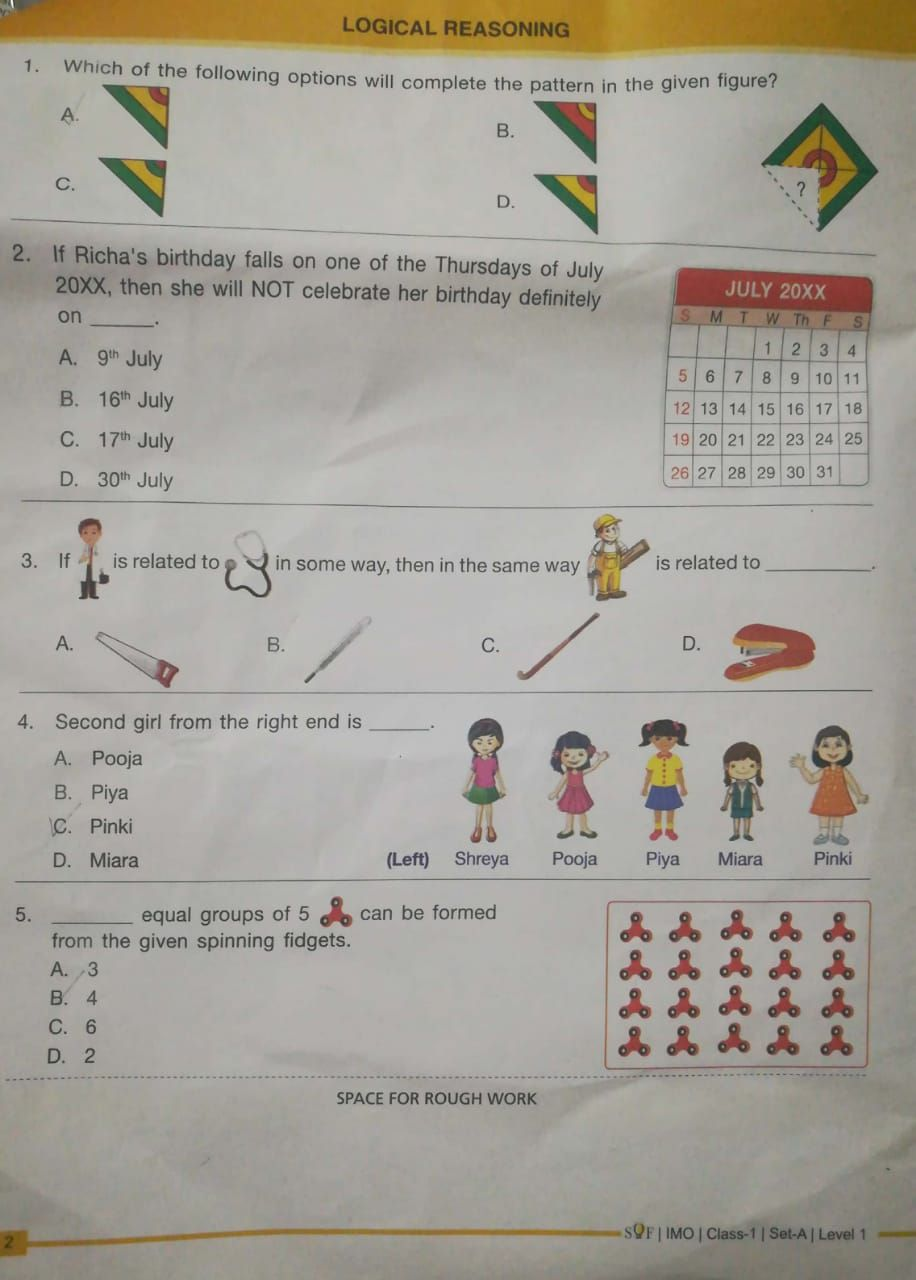 2018 2019 Class 1 Imo Olympiads Practice Set Question Paper Questions Sample Paper Sof Learning Mathematics Math Olympiad Worksheets For Kids [ 1280 x 916 Pixel ]