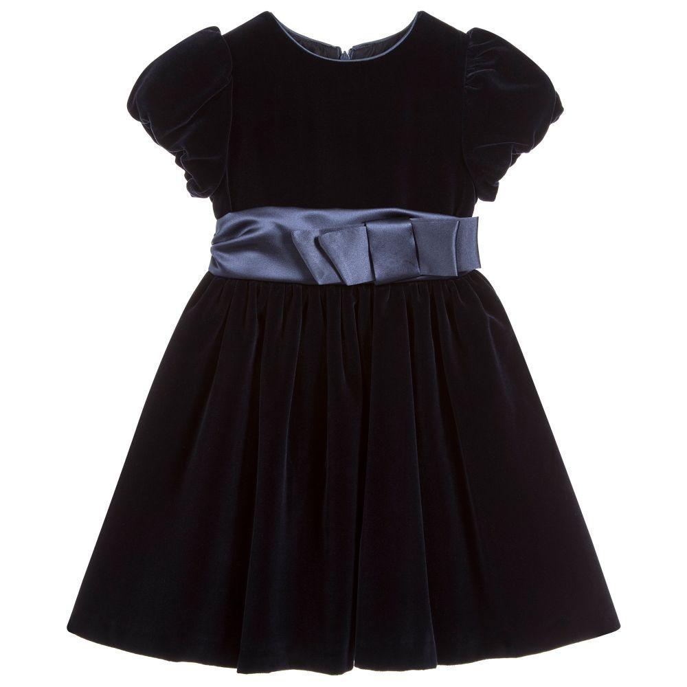 c354b138a3a0 Girls Blue Velvet Dress