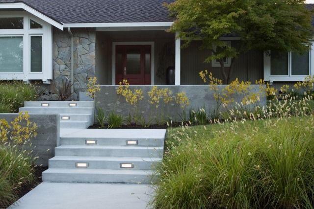 treppenbeleuchtung außen einbauleuchten stufen gräser | Außentreppe ...