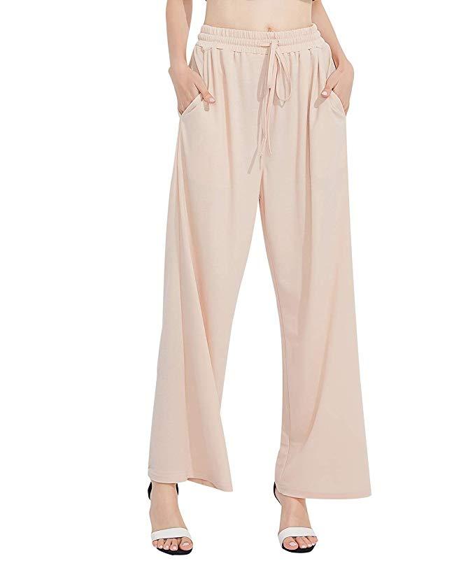 Freeprance Women Wide Leg Pant Casual Loose Soft Comfy Breathable Elastic Waist Beach Pants Linen Palazzo Trouser