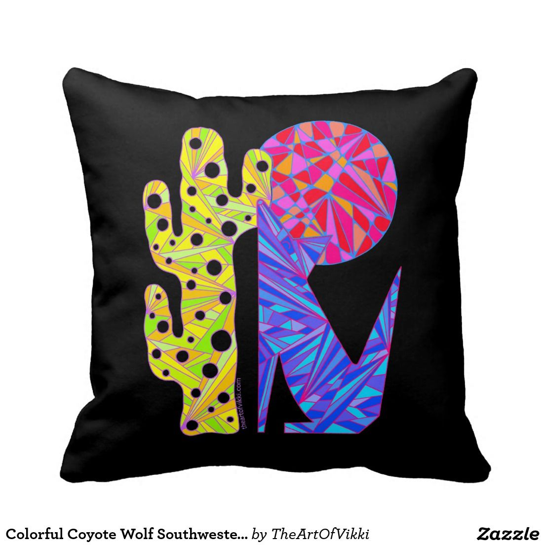 Colorful Coyote Wolf Southwestern Art Pillow