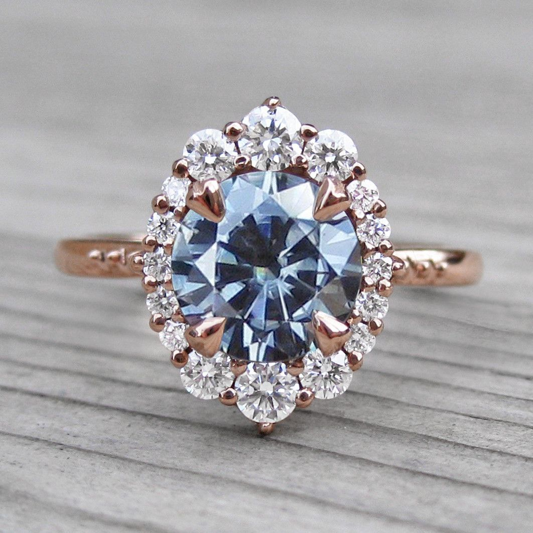 Dark Grey Moissanite Engagement Ring with Diamond Halo - Rose Gold (1.58ct)