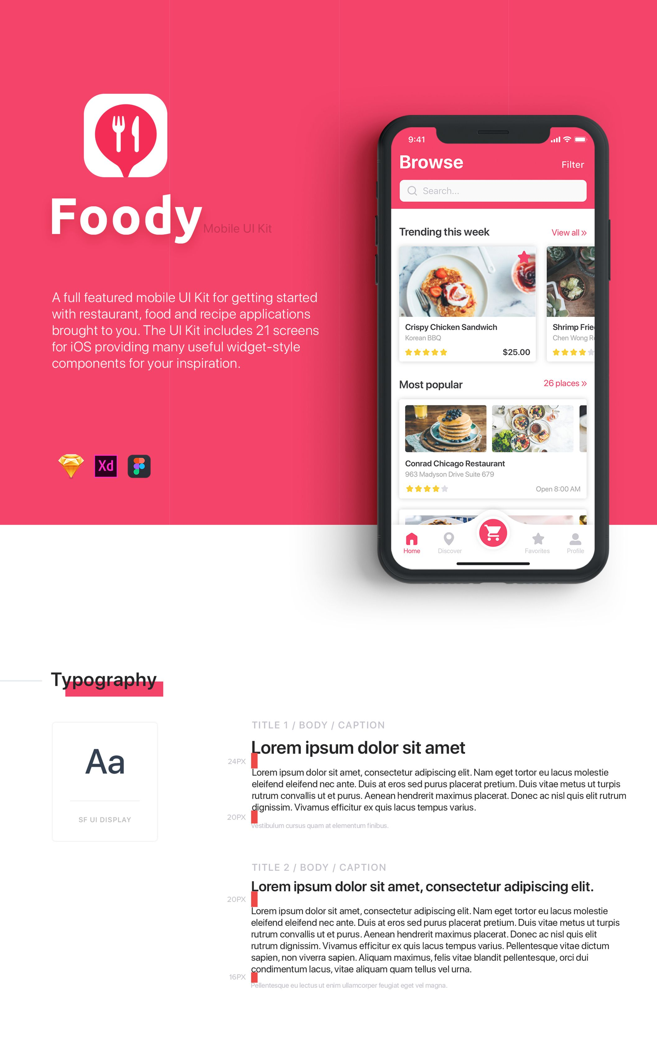 Foody UI Kit — UI Kits on UI8 | Design project | App ui, App