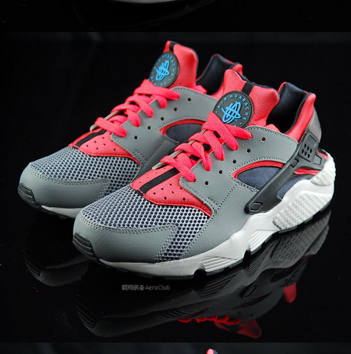 Men Nike Air Huarache Run 318429-009 Cool Grey/Bright Crimson/Black only