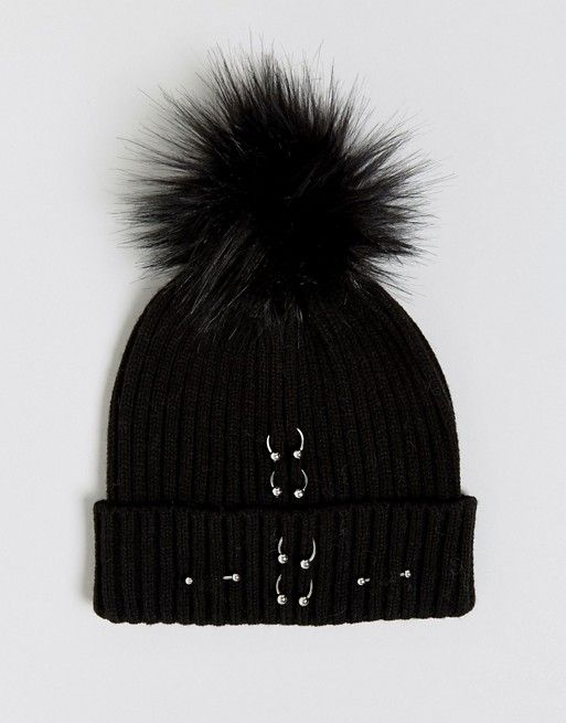Beanie Bobble Hat with Badge - White Heist T1ArT