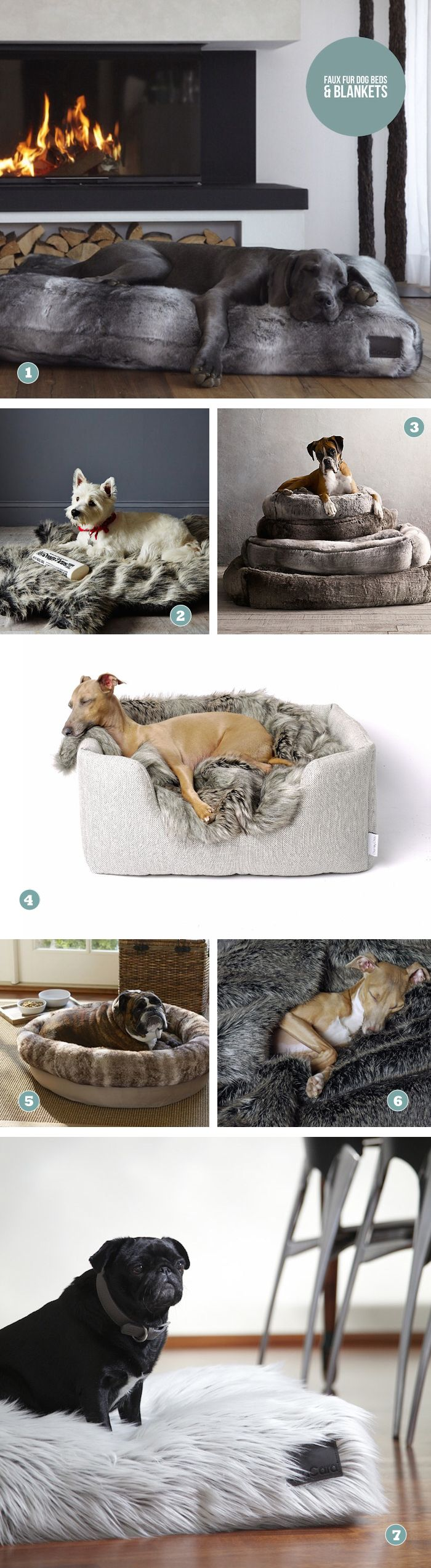 Luxury faux fur dog beds and blankets Round dog bed, Dog