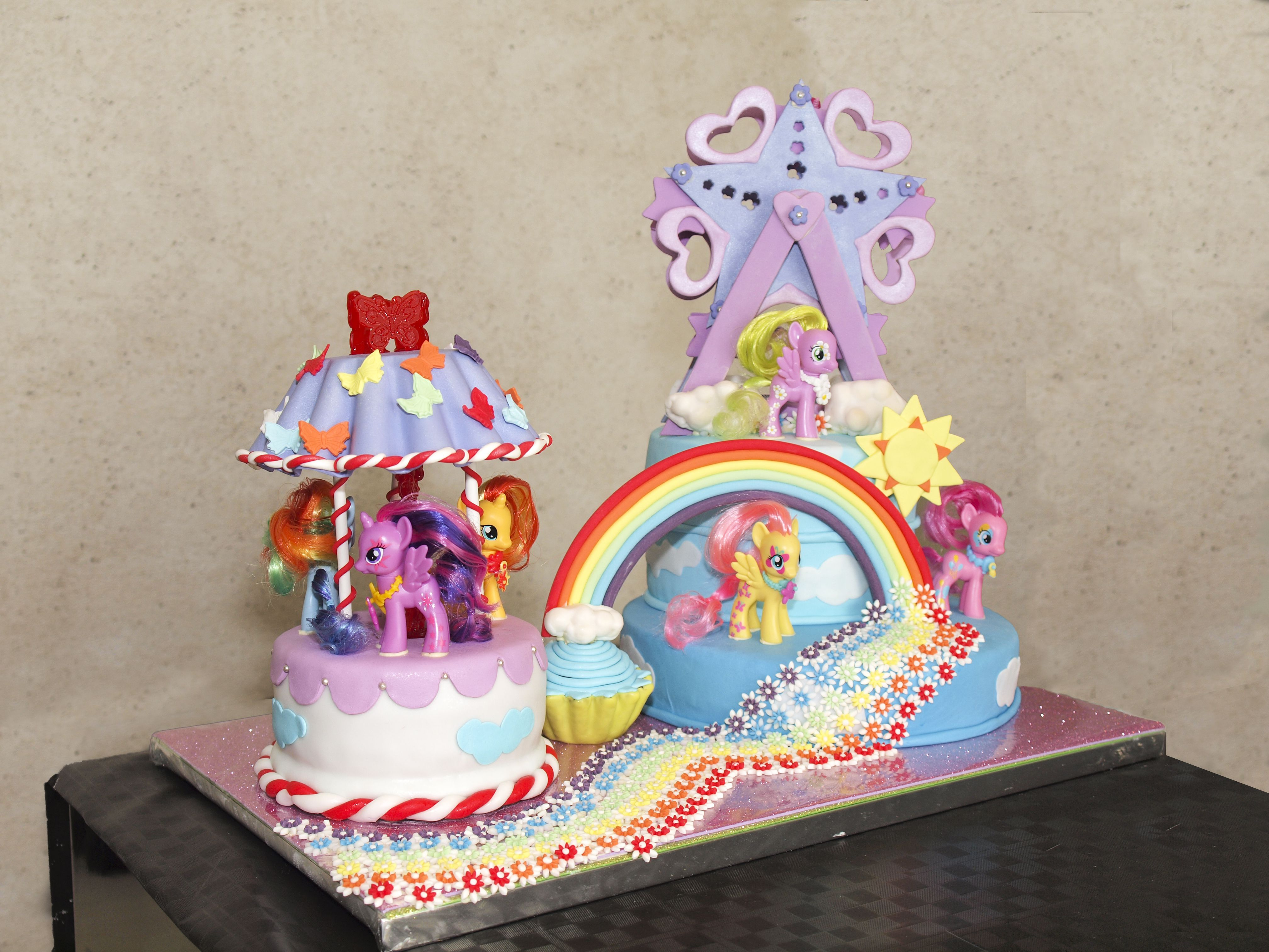 pastel my little pony to vivo y noria pastel con cobertura figuras y