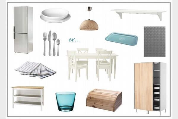 IKEA kitchen moodboard white country wood turquoise