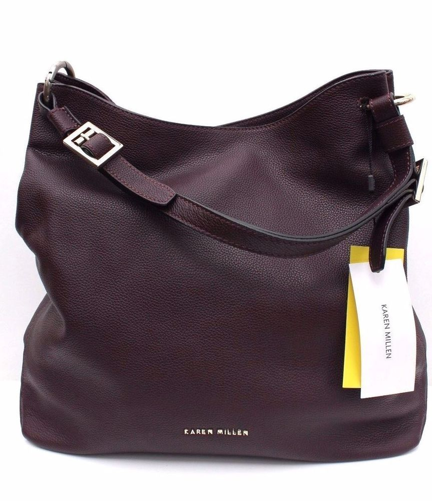 644a017832 Karen Millen GZ031 Berry Soft Grain Leather Tote Shoulder Sling Shopper  Hand Bag #KarenMillen #