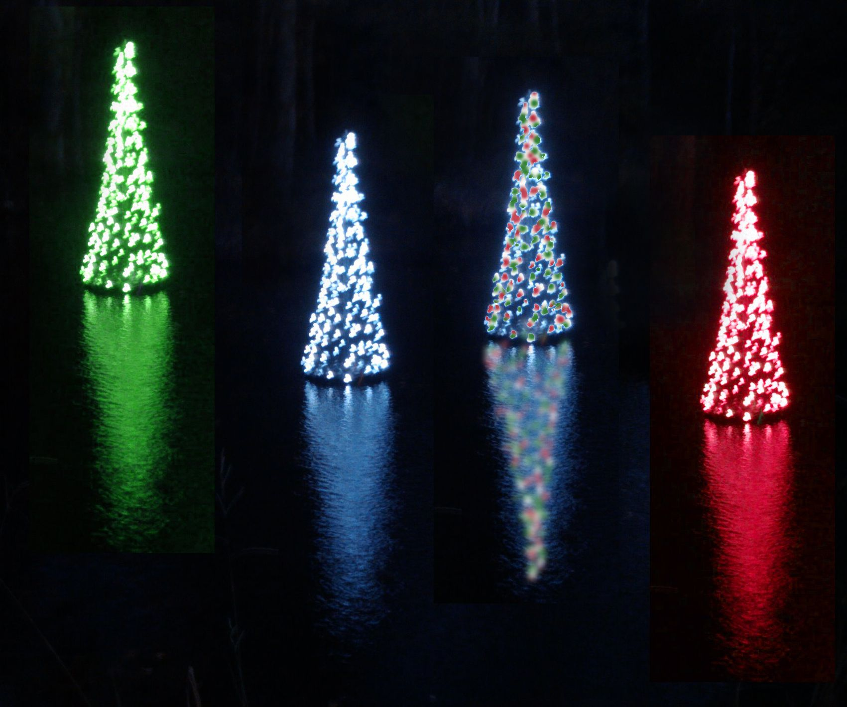 Floating christmas tree small garden ponds christmas for Pond decorations
