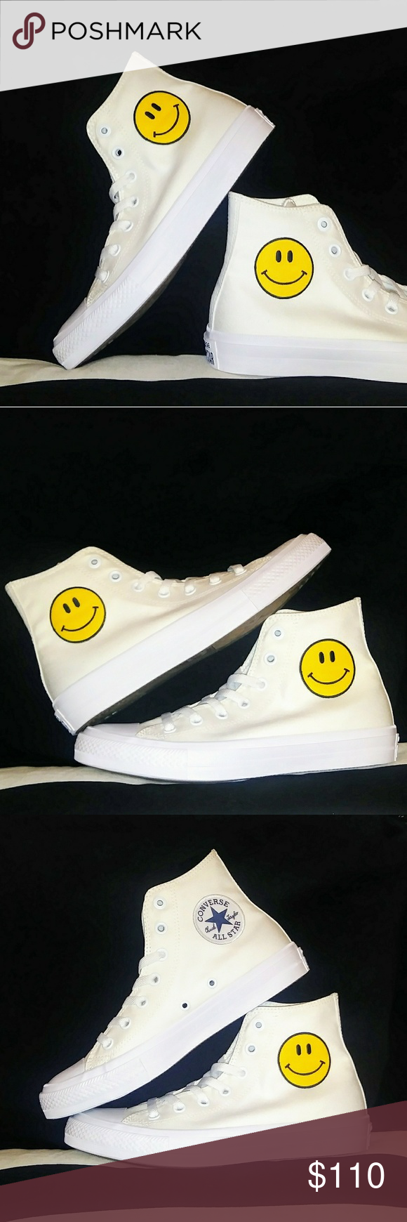 e3c3935cebd0 NWT Custom Smiley Face Converse Chuck Taylor Shoes - Custom Smiley Face  Emoji Sneakers - New