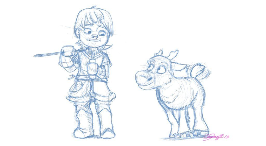 Drawing Of From Frozen Kristoff And Sven: Young Kristoff And Sven Doodle By Luvusagi.deviantart.com