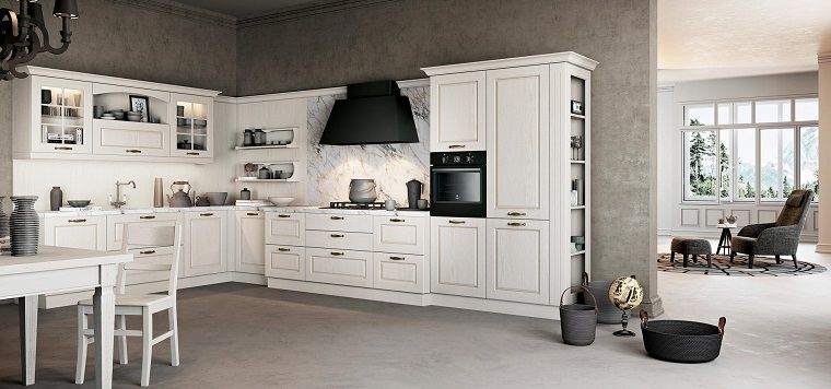 cucine classiche bianche-cappa-nera | Kitchen, Kitchen ...