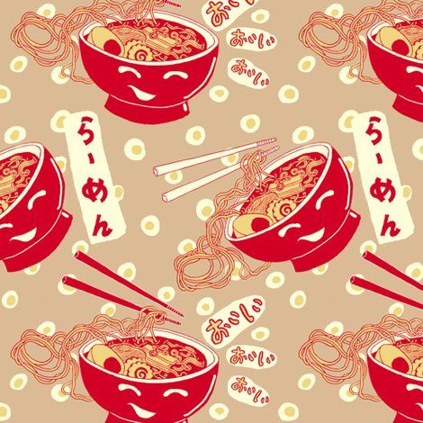 Colorful fabrics digitally printed by Spoonflower - Ramen Time!