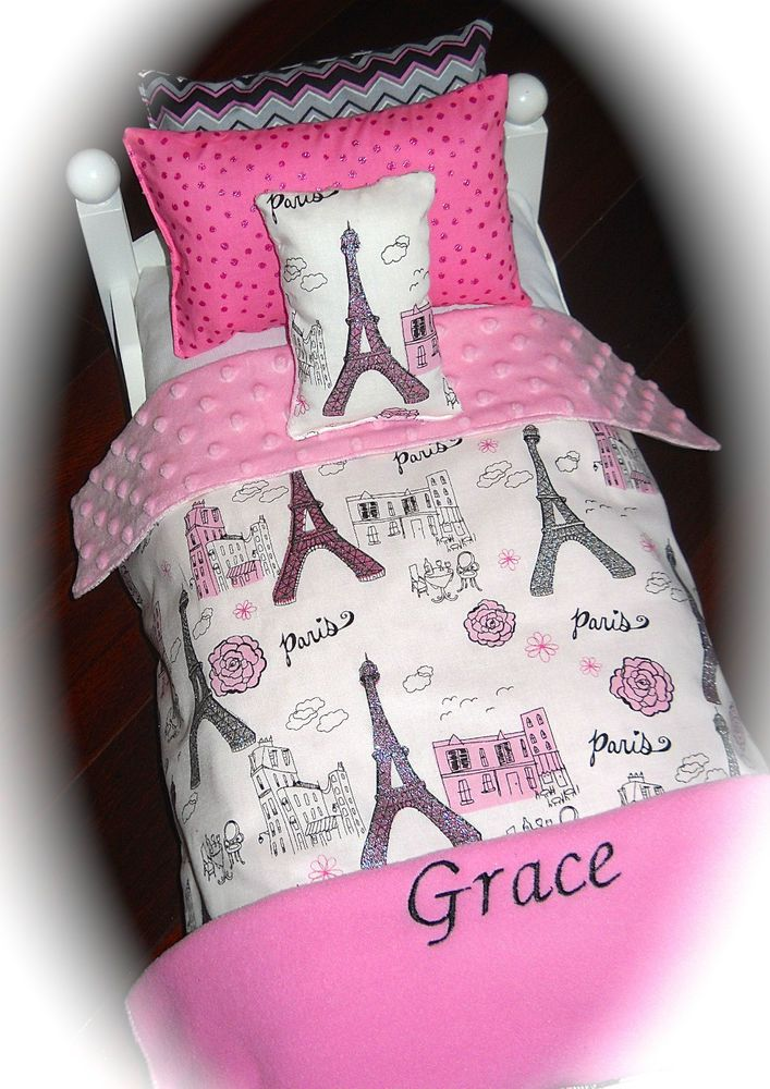 18 doll bedding personalized paris glitter 2015 american made for girl doll bed - Beds For American Girl Dolls