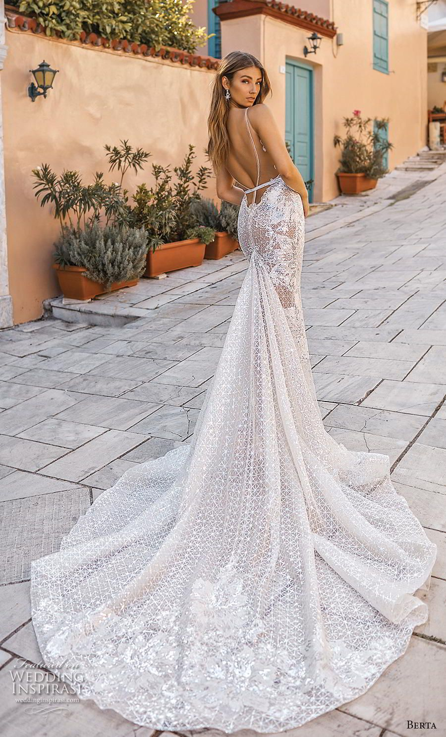 9c94163ade Weddinginspirasi.com featuring - berta fall 2019 bridal sleeveless deep v  neck full embellishment elegant sexy fit and flare mermaid wedding dress  backless ...