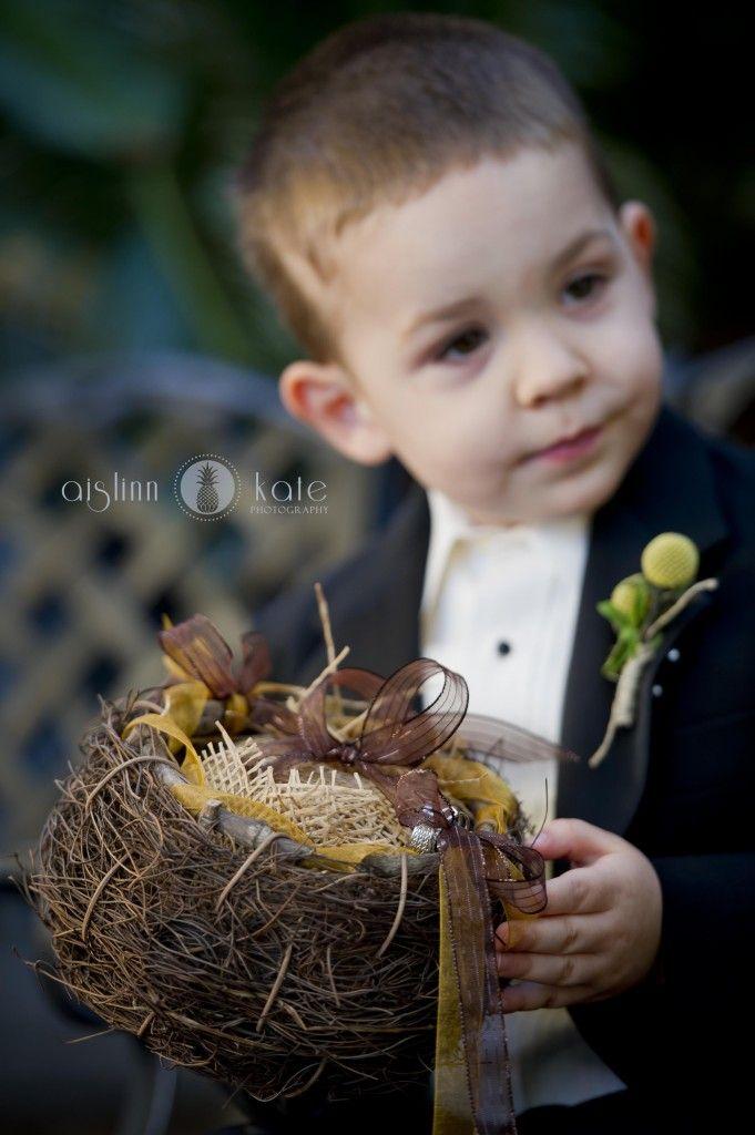 birds nest, nest ringbearer pillow, bird themed weddings (Pensacola Wedding Photographer)
