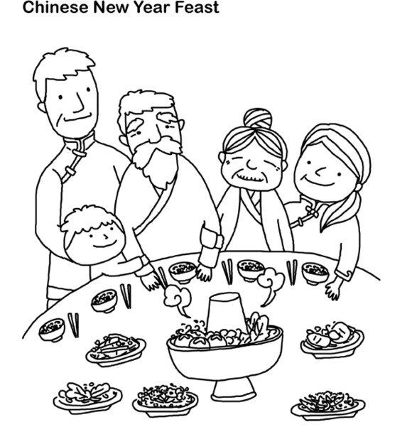 Chinese New Year Coloring Pages Feast | Chinese words | Pinterest ...