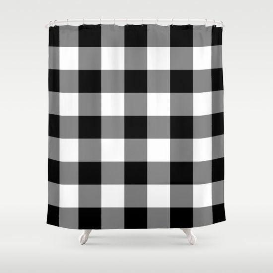 Black White Buffalo Plaid Buffalo Check Plaid Plaid Shower Curtain Black White Shower Curtain White Shower Curtain