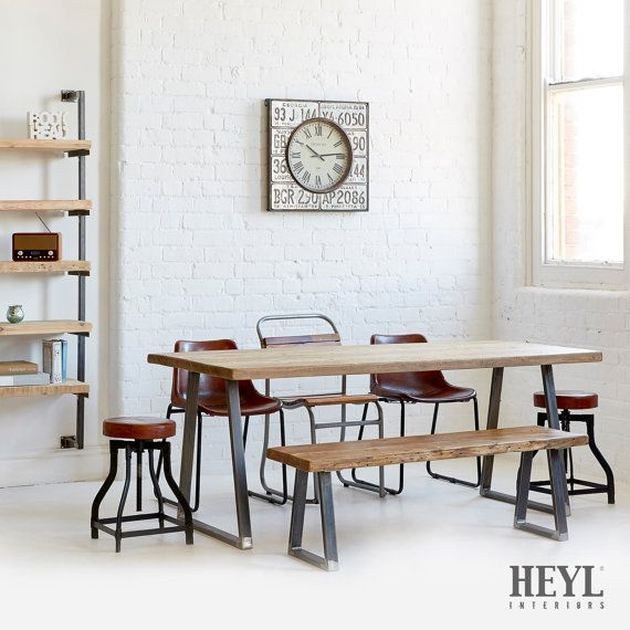 Our All Time Favorite Rustic Spaces: Industrial Rustic Reclaimed Wood Plank Top By