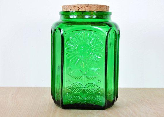 Nice Vintage Wheaton Green Glass Storage Jar Cork Lid By HedgehogAndOwl