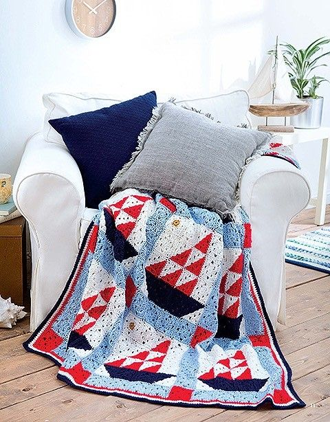 One of six new cotton afghans for summer! Use them indoor or out ...