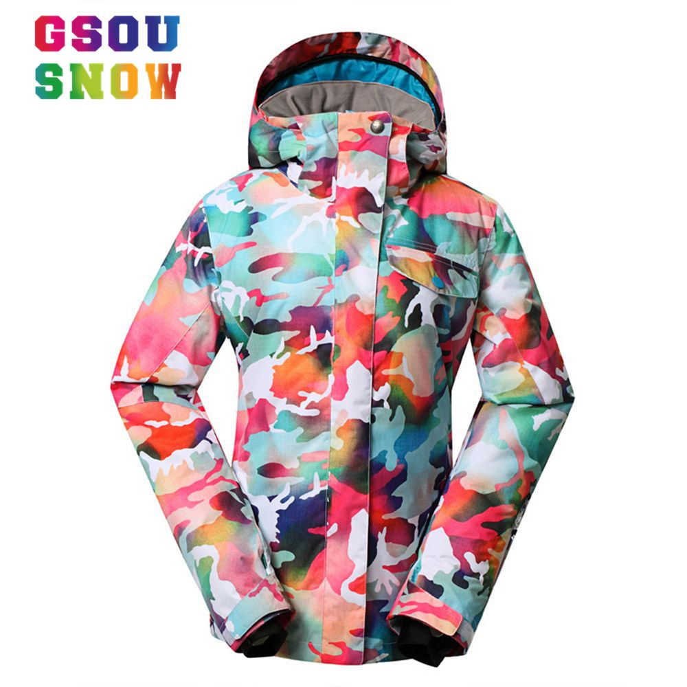 cb5160c3f7 Super Quality Gsou Snow Ski Jacket Women Winter Waterproof Windproof  Colorful Camo Snowboard Jackets Cheap Female