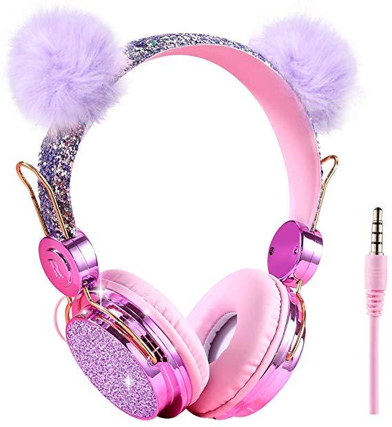 Kids Headphones Glitter Bear Ear Volume