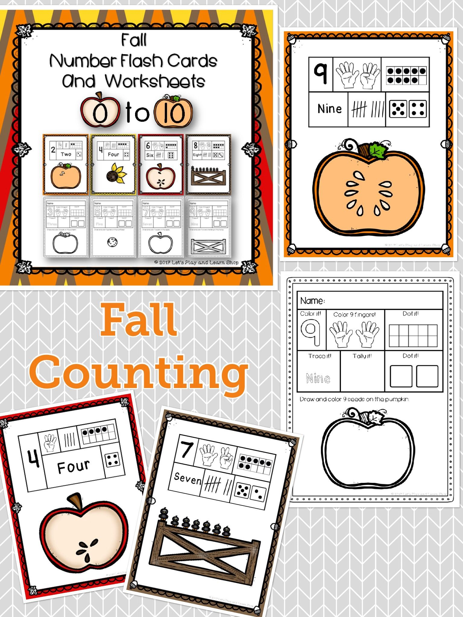 Fall Number Flash Cards And Worksheets For 0 10