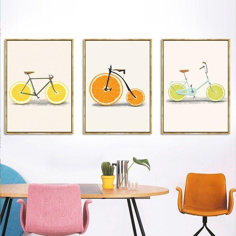 Abstract Fashion Bike Lemon Orange Fruit Print Canvas Paintings Kitchen Decor Nordic Pop Posters Minimalist Wall Art Pictures In 2020 Kitchen Decor Wall Art Minimalist Wall Art Bicycle Wall Art
