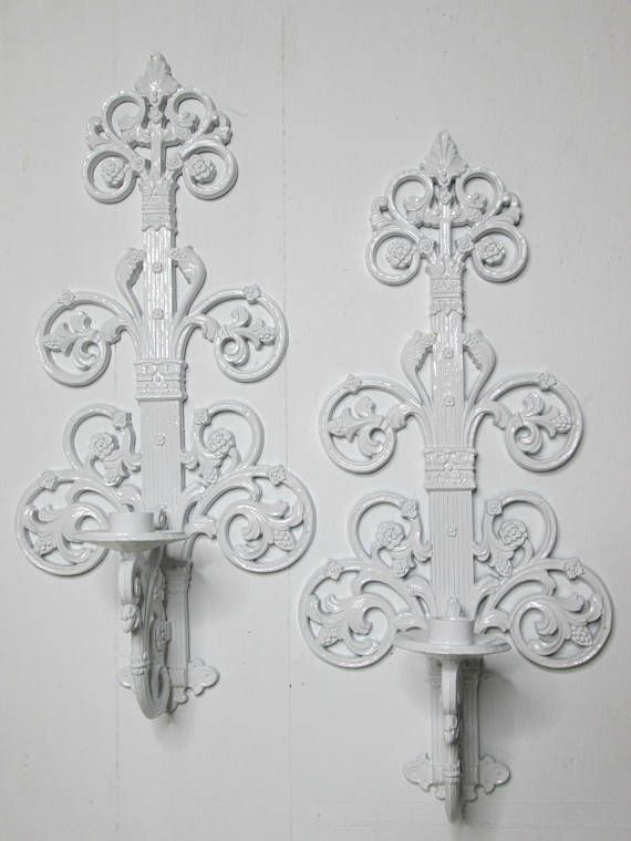 Vintage Candle Holders White Wall Decor Shabby Decor Handcrafted