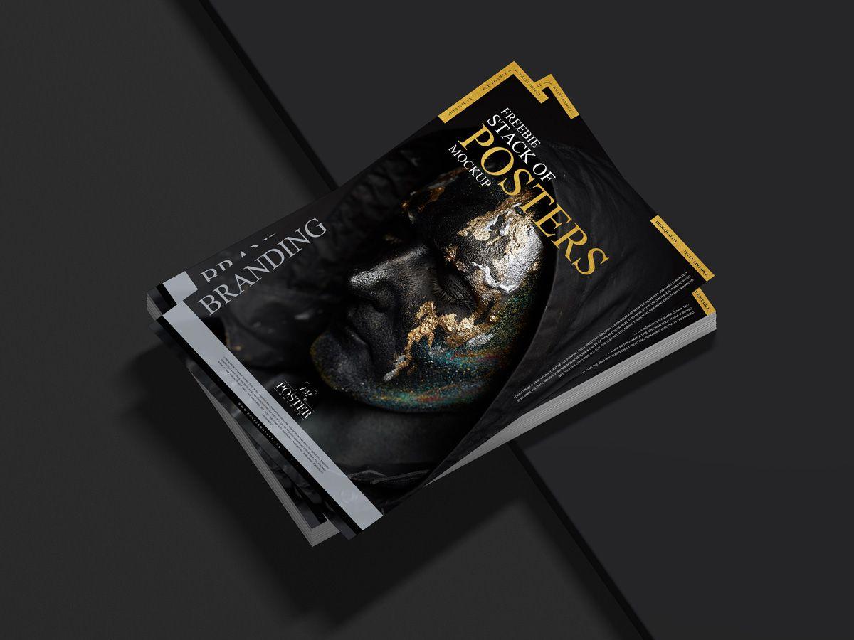 Free Modern Branding Stack Of Poster Mockup Design In 2020 Poster Mockup Free Mockup Mockup Design