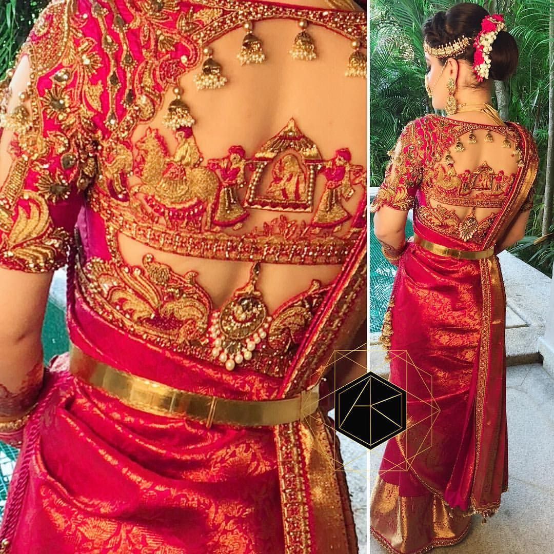 Wedding saree blouse design red my beautiful regal south indian bride on her wedding day in fram