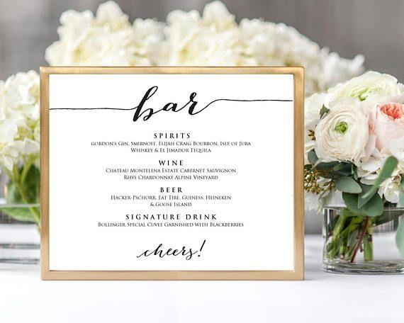 Bar Menu Wedding Sign Template, 8x10 Wedding Sign, Instant Download