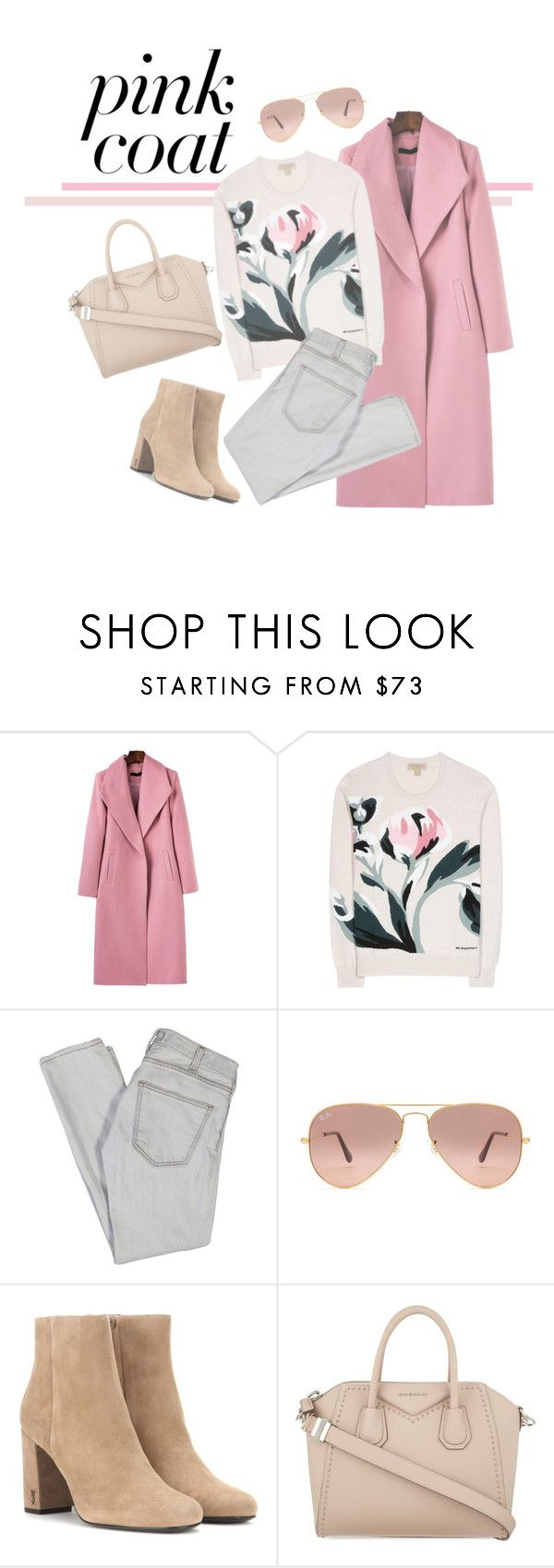 """""""no. 5"""" by cloud-free ❤ liked on Polyvore featuring Burberry, Current/Elliott, Ray-Ban, Yves Saint Laurent, Givenchy, Flowers, classy and pinkcoats"""
