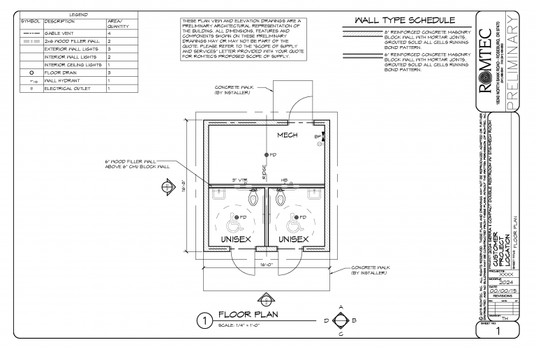 Floor Plan Of Double Restroom With Large Mechanical Room Mechanical Room Floor Plans Storage Room