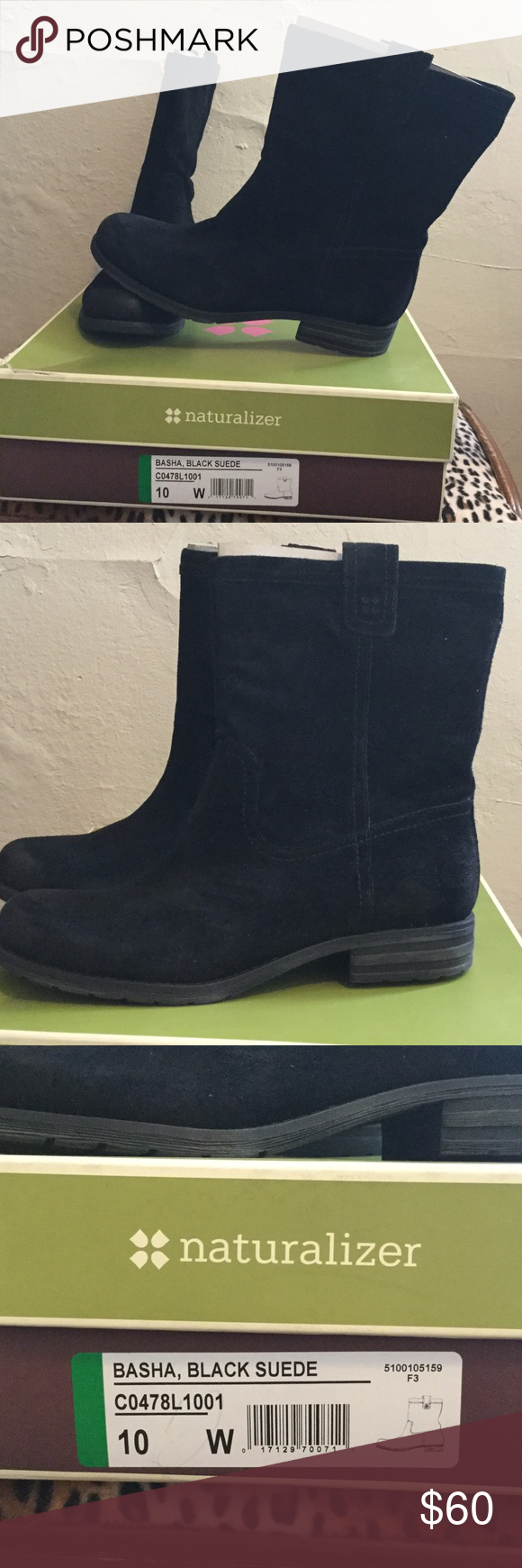 Naturalizer black suede boots Brand new still in box. Womens size 10W. Naturalizer Shoes Winter & Rain Boots