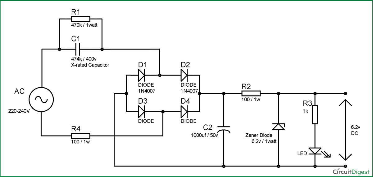Transformerless Power Supply Circuit Diagram | Power supply ... on ac to dc transformer, ac to dc power converter schematic, ac power on a pcb, 120 ac to 12 dc schematic, 12v dc power supply schematic, regulated dc power supply schematic, dc to ac power inverter schematic, ac power source schematic, op amp schematic, ac schematic diagram,